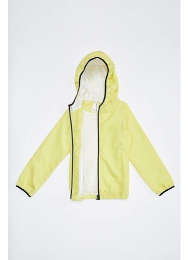 Defacto –Fit Kız Çocuk Kapüşonlu Yağmurluk Sarı